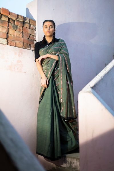 Olive Ghongroo Chand Saree by PeeliDori, INR 6,500