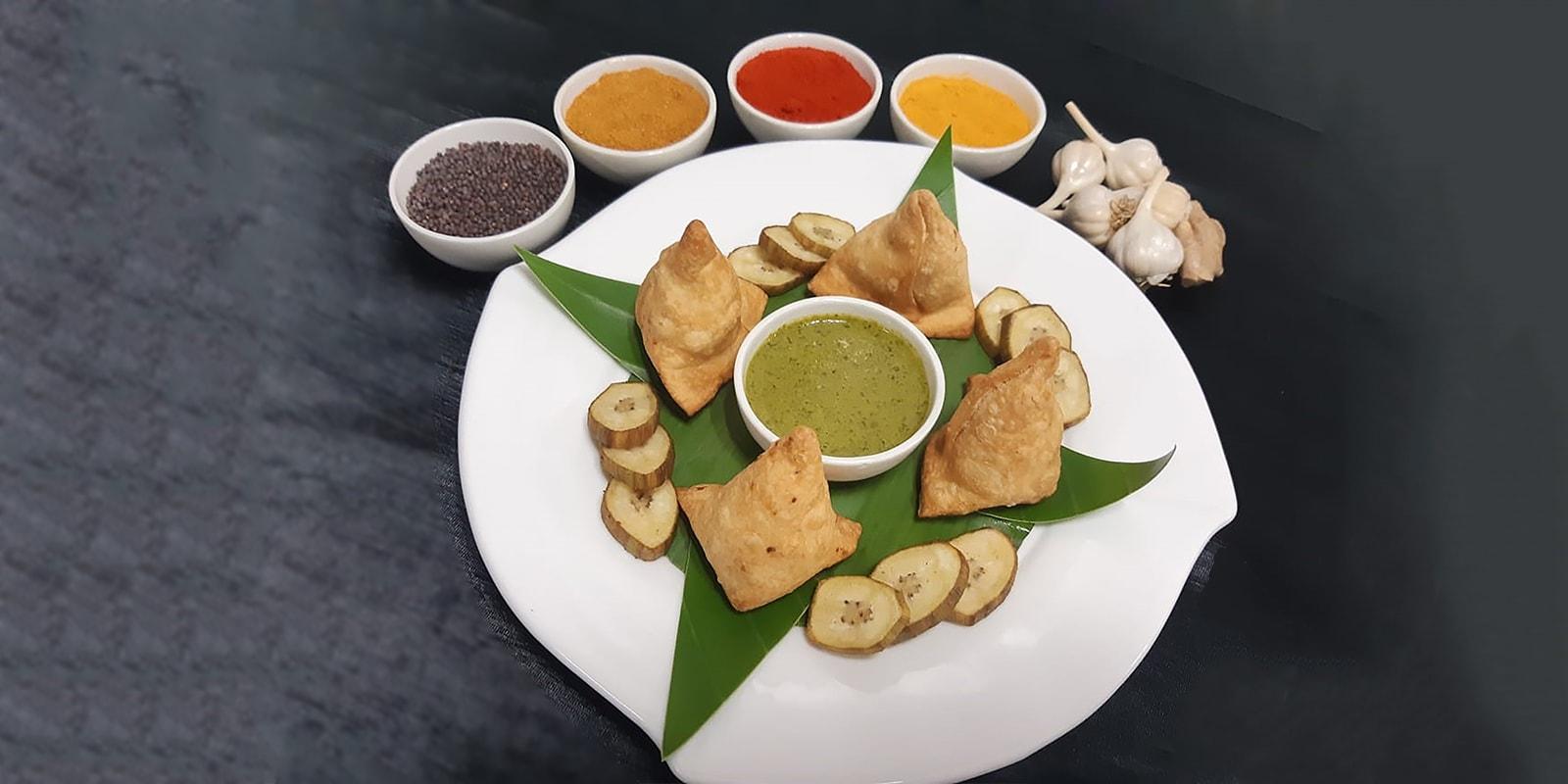 Healthy Oven Baked Raw Banana Samosa_Chef Narayan Salunke, Radisson Blu Resort & Alibaug