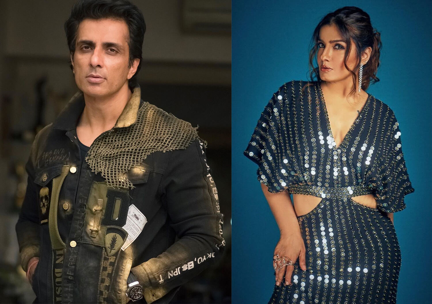 Sonu Sood And Raveena Tandon In A Decked Up Avatars - Bold Outline :  India's leading Online Lifestyle, Fashion & Travel Magazine.